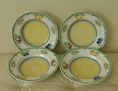 "Villeroy and Boch French Garden Fleurence Large 9"" Rim Soup Bowl Set of 4"