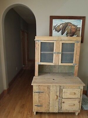 Primitive Pie Safe Cabinet Painted Rustic Jelly Cupboard Farmhouse Country Pine