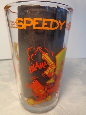 "1974 Speedy Snaps Up The Cheese 4.25"" Glass Tumbler Warner Bros Sylvester Bottom"