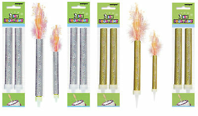 3 X Sparkling Birthday Party Cake Topper Fountain Candles Gold Silver Blue Pink