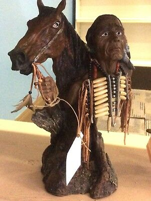 Native American Warrior & Horse Beads Leather Plastic Resin Figurine Statue