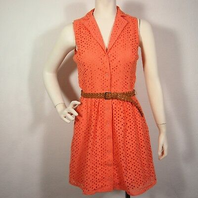 2b By Bebe Eyelet Lace Belted Coral Dress Sz S &M
