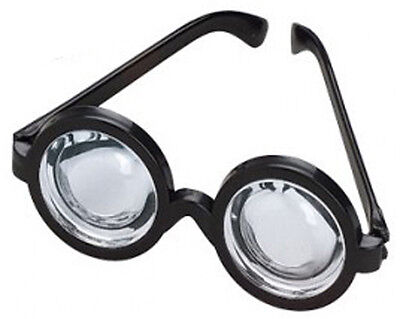 Black Frame Plastic Nerd Doctor Novelty Big Bug Eye Bottle Rim Glasses Specs