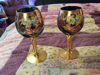 Pair Of Bohemian Blue/purple Glass w/ Gold accents With Handpainted Flowers