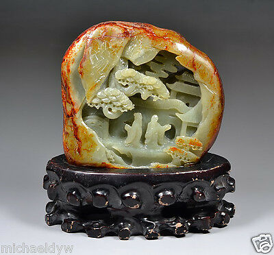 Fine Vintage Chinese Hetian Nephrite Jade Landscape Statue