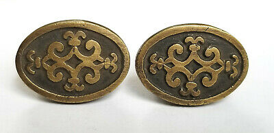 2 Antique Style Ornate Solid Brass Oval Knobs Pulls Cabinet Dresser w bolts #Z14