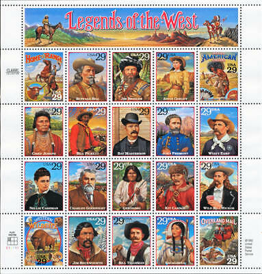 1994 29c Legends of the West, Souvenir Sheet of 20 Scott 2869 Mint F/VF NH