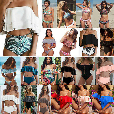Women Off Shoulder Ruffle Bikini Set Swimwear Swimsuit Beach Wear Bathing Suit