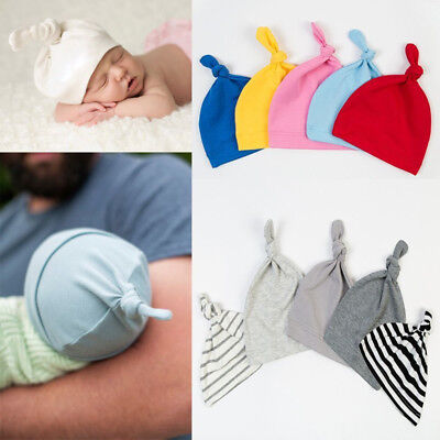 IT- Cotton Beanie Newborn Baby Knotted Hat Boys Girls Soft Cap Infant Toddle Hea