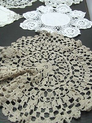 💕Vintage Crocheted - Needle Lace - Doilies - Lot of 12 Tans Cream White 💕