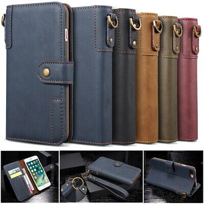 Retro Genuine Real Cow Leather Flip Wallet Stand Case Shell for Various Phones