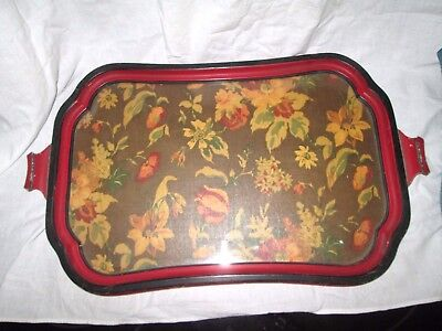 Vintage Wood/Glass Serving Tray
