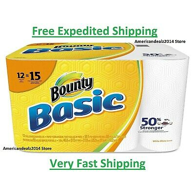 Bounty Basic Full Sheets Paper Towels, 12 OR 24 Rolls FREE EXPEDITED SHIPPING!