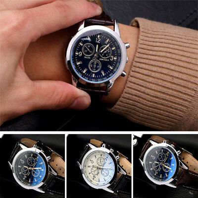 Fashion Mens Leather Military Casual Analog Quartz Wrist Watch Business Watches
