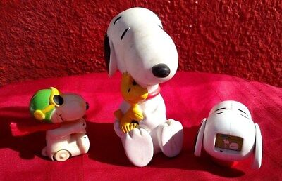 3 Pc Lot Peanuts Vintage Snoopy Schulz Toy Bank 1966 Push Toy UFC Head   ✞