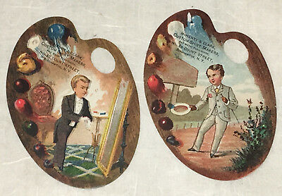 Superb Pair of Victorian Trade Card  McHenry & Clark Custom Shirt Makers 1890