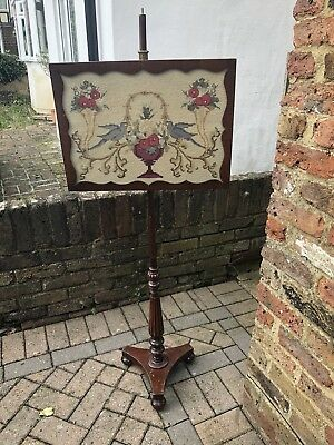 Victorian Mahogany Pole Screen Original Tapestry Panel