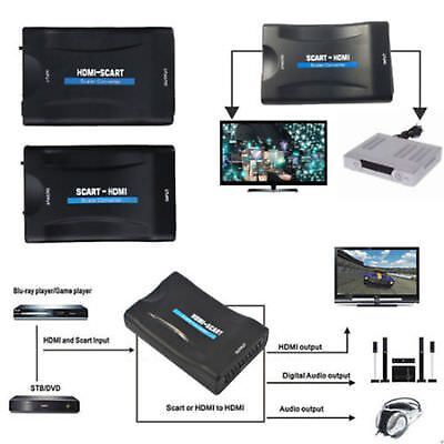 HDMI To SCART Converter 1080P Plug&Play Video Signal Adapter for HDTV DVD UK