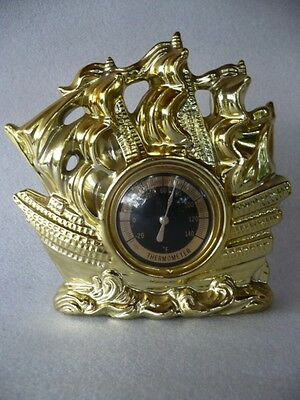 VINTAGE RETRO 50's ART DECO ERA THERMOMETER GALLEON SHIP BOAT GOLD