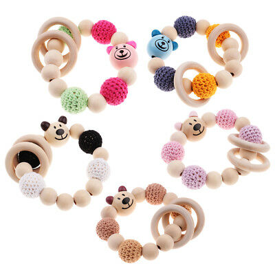 Natural Wooden Crochet Baby Infant Teether Teething Bracelet Ring Toy Gift