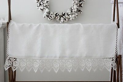 Beautiful Antique Vintage Linen Table Cloth Runner Dresser Scarf w/Lace Edge