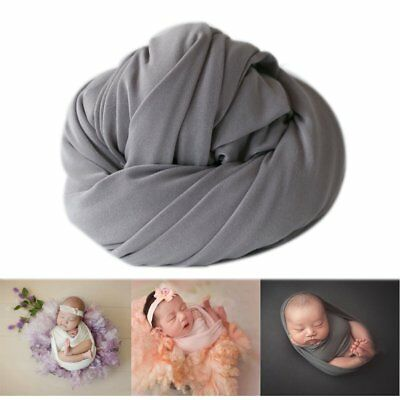 Newborn Baby Photo Props Blanket Backdrop Cotton Stretch Wrap for Boy Girls SKY