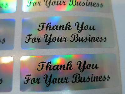 400 Script Font Silver Holographic Thank You for your business Stickers Labels
