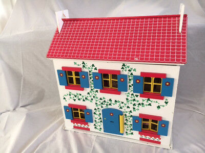 Childrenu0027s Wooden Dolls House With Furniture And Doll Family