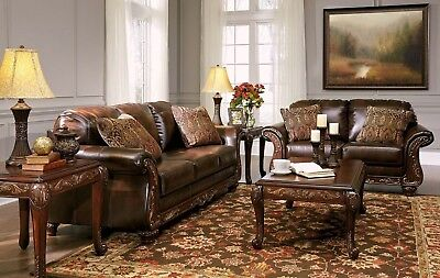 VANCETON BROWN LEATHER Traditional Sofa Loveseat Chair ...