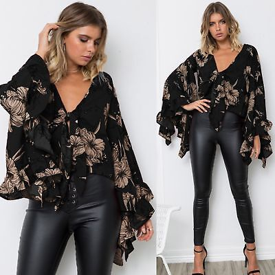 Women Loose Bandages Printing Casual Lace Puff Long Sleeve  Bows Blouse Tops NEW