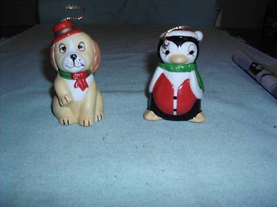 2 Vintage Beautifully Hand Painted Miniature Collect  A Bells Dog & Penguin FC
