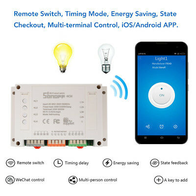 Sonoff 4-Way WiFi Wireless Smart Switch Module ABS Socket for DIY Home HS995