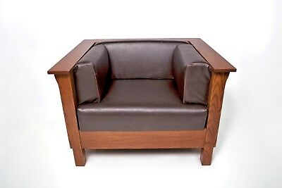Mission Arts & Crafts Stickley style Panel Leather Club Cube Chair