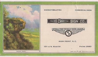 McCrary Sign Co Highway Bulletins HIGH POINT NC Vintage Ink Blotter Sunset Rock