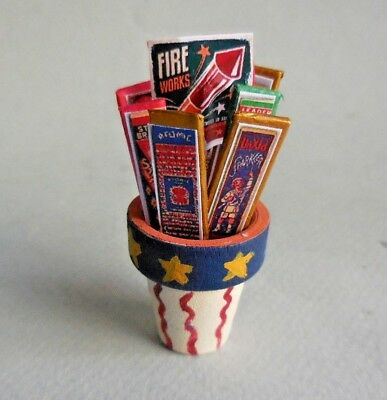 Dollhouse Miniature ~ Americana Red White & Blue Striped Flower Pot