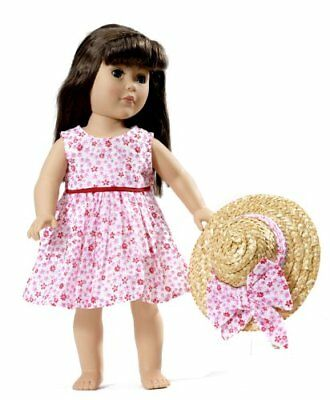 """Pink Sleeveless Floral Dress and Hat Fits 18"""" American Girl  Dolls"""
