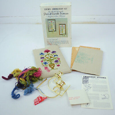 VTG Crewel Embroidery Kit Pair of Candle Sconces Floral Elsa Williams Heritage