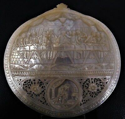 ANTIQUE CARVED MOTHER OF PEARL PLAQUE THE LAST SUPPER THE HOLY LAND EARLY 20thC.