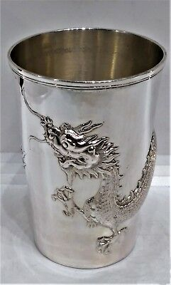 Beautiful Antique Chinese Export Silver Dragon Beaker, Luen-Wo Shanghai C.1895