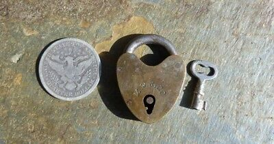 Antique Brass and Steel Mallory & Wheeler Heart Shaped Padlock & Key  1-1/4""