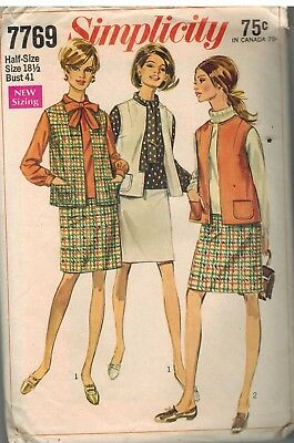 7769 Vintage Simplicity Sewing Pattern Misses Jacket Overblouse Skirt OOP 1960s