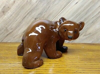 "Arabia Brown Bear figurine Finland Measures 6 "" long 3-3/4"" tall"