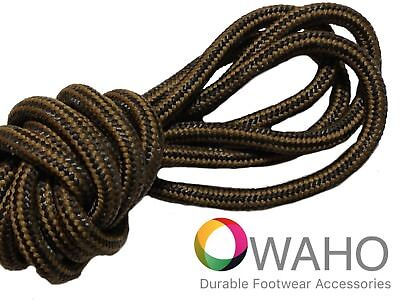 Heavy Duty Chestnut / Black  Shoe / Boot Laces Made with Black Dupont™ Kevlar®