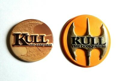 1997 Kull The Conqueror Movie Promo Button Set - Kevin Sorbo Tia Carrere Pin