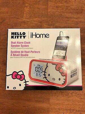 Hello Kitty Dual Alarm Clock Speaker System PINK BRAND NEW