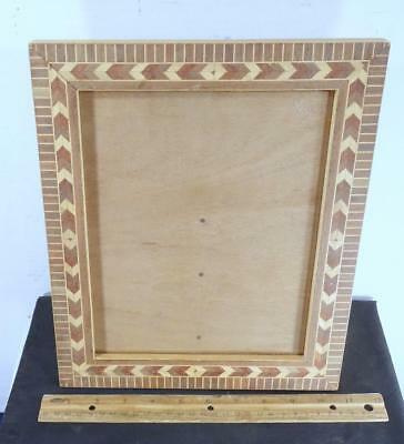 ANTIQUE TRAMP Art Tabletop Mirror Picture Frame On Stand Wooden Folk ...