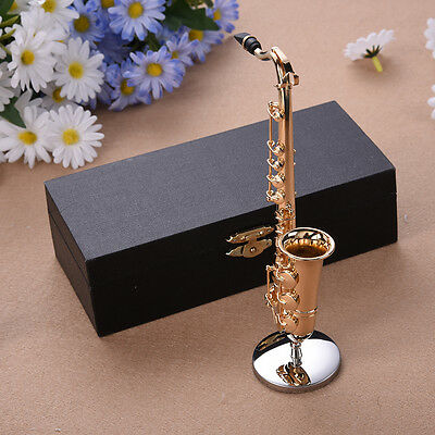 Mini Saxophone with Metal Stand Miniature Musical Instruments Collection Decor