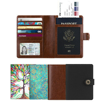 Passport Holder RFID Blocking Travel Wallet Cover Case with Snap Closure