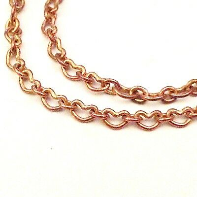 copper heart chain necklace craft jewellery findings 50cm lengths