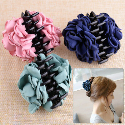 Fashionable Fabric Rose Flower Large Hair Clamp Claw Clip Accessories Gift Women